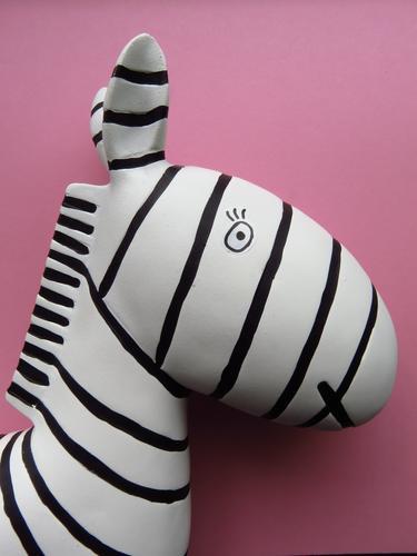 Breton stripes Wild animal Zebra 1 Animal Looking Pink Black White Design Chic Stripe Decoration Colour photo Studio shot Deserted Copy Space right