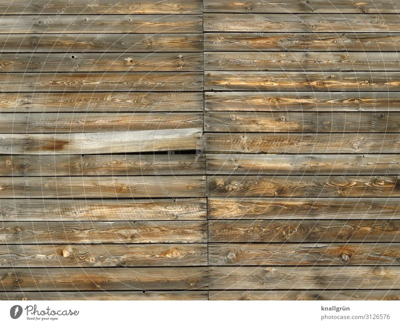 secret compartment Wall (barrier) Wall (building) Facade Wood Communicate Old Broken Brown Mysterious Price tag Decline Wooden board Wooden wall Colour photo