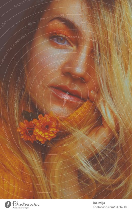Autumn Beautiful Human being Feminine Young woman Youth (Young adults) Woman Adults Life 1 18 - 30 years Flower Sweater Hair and hairstyles Blonde Yellow Gold