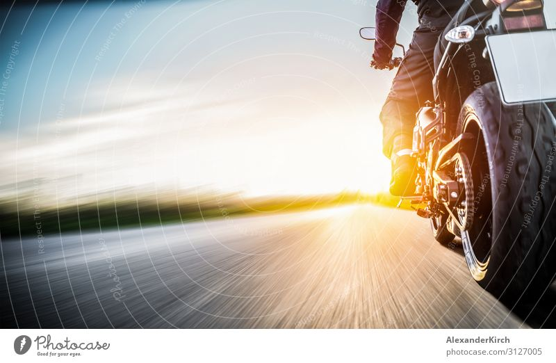 motorbike on the road riding. having fun riding the empty road Lifestyle Joy Vacation & Travel Sports Engines Human being Motorcycle Fashion Power motorcyclist