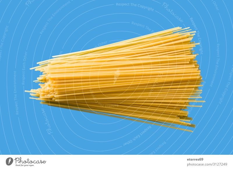 Raw Spaghetti pasta Pasta Food Healthy Eating Dish Food photograph Italian Ingredients Tradition Meal Tasty Blue Isolated (Position) Neutral Background Group