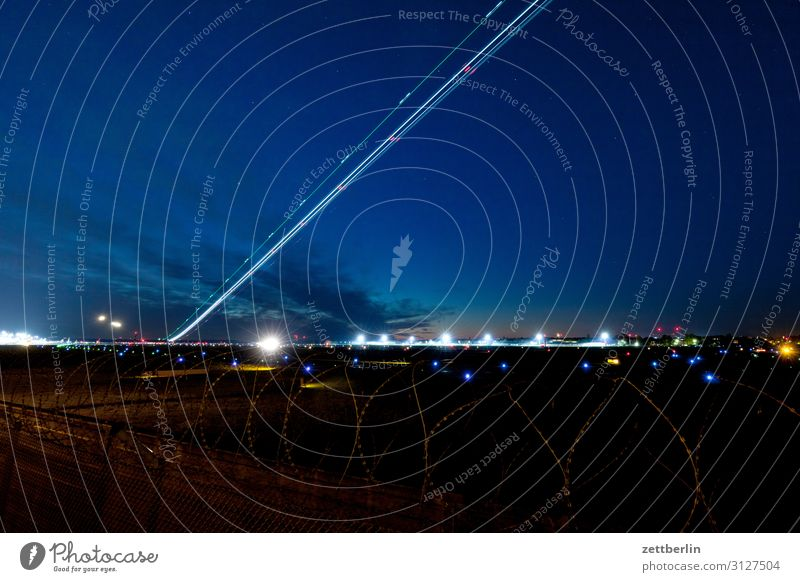 Aircraft take-off in Tegel Airplane Departure Airplane takeoff Airport Airport Berlin-Tegel Steep Evening Night Dark Night sky Sky Heaven Incline Aviation
