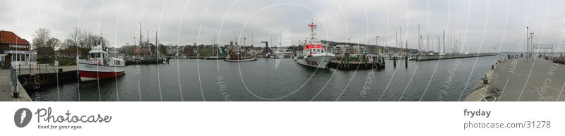 Laboe Port Panorama (View) Wide angle Watercraft Fishing boat Fisherman Jetty Europe Harbour Baltic Sea SAR sea rescuers Large Panorama (Format)