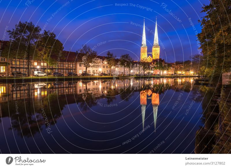 Lübeck on the Trave Architecture Culture River bank Germany Europe Town Downtown Skyline House (Residential Structure) Dome Manmade structures Building