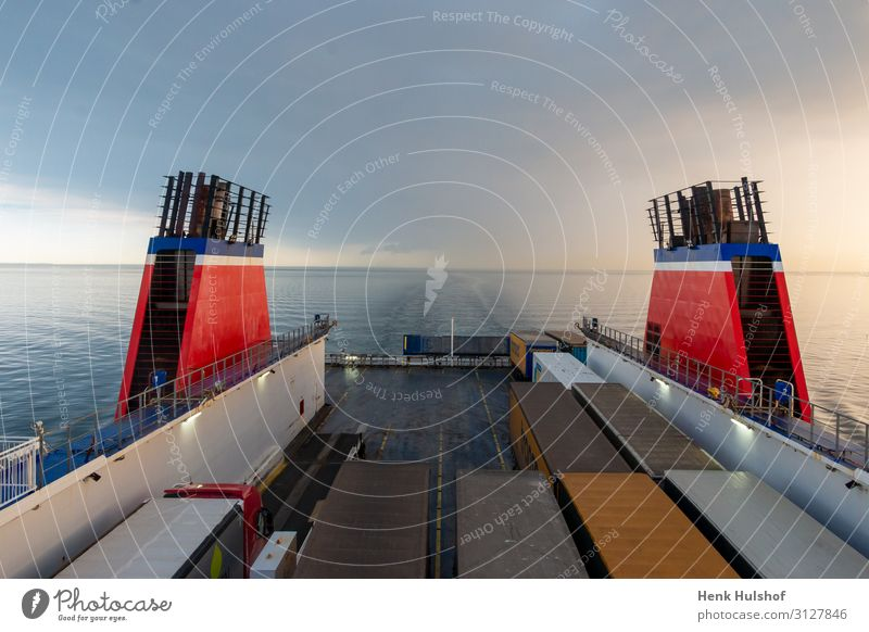 Exhaust pipes on a large boat sailing from Goteborg to Kiel Vacation & Travel Summer Blue Water Landscape Red Ocean Travel photography Environment Tourism Air