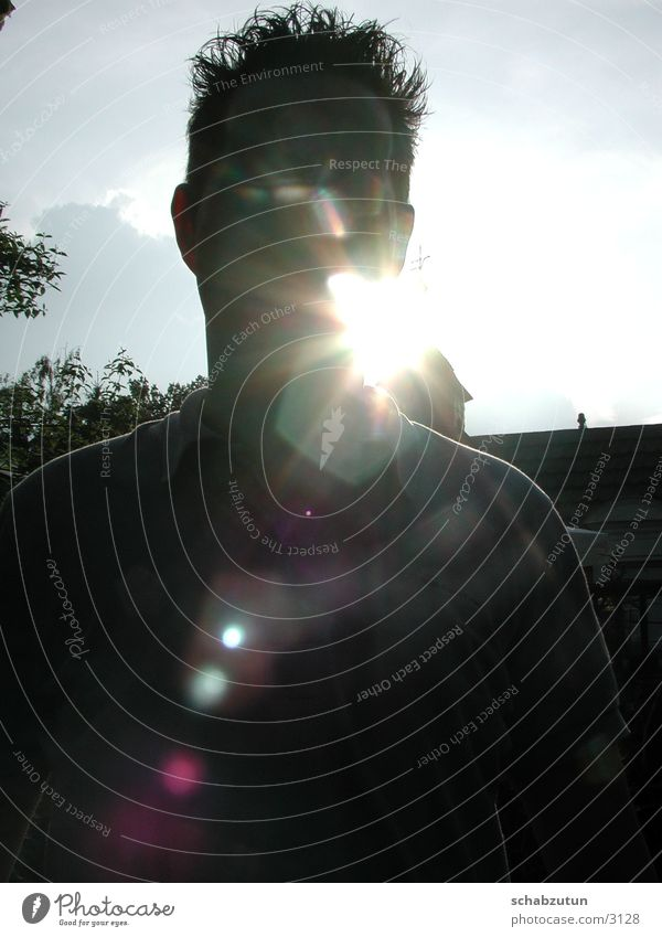 Human being Sun Face Guy Lens flare Man Patch of light