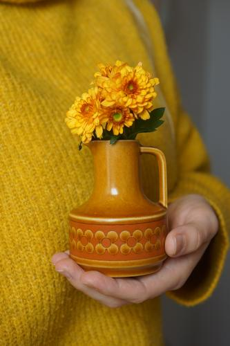 Back then Decoration Kitsch Odds and ends Souvenir Collection Collector's item Vase Blossoming Historic Retro Yellow Orange Loyalty Hospitality Grateful Colour