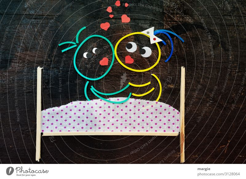 Rubber worms: We stay at home! Heart Quarantine Protection Sick Love Lovers Bed Bedclothes erotic Sexuality Embrace Collage Girl Woman Man Family planning