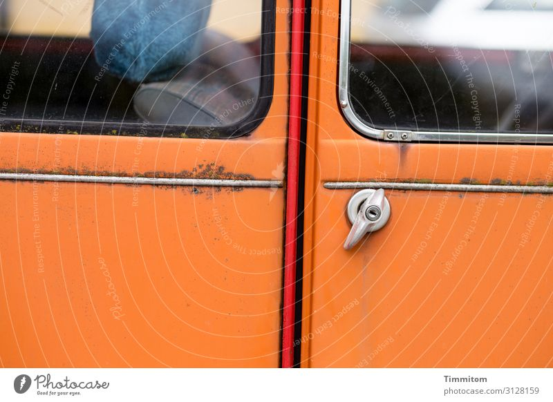 Older cult vehicle Lifestyle Transport Vehicle Car Glass Metal Orange Red Silver Emotions Bamberg Iconic Car door Door handle Rust Colour photo Exterior shot