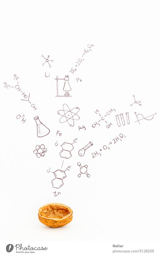 Concept of chemistry in a nutshell Academic studies Laboratory Study Brown Black White Atoms Background picture Graph Icon Illustration Symbols and metaphors