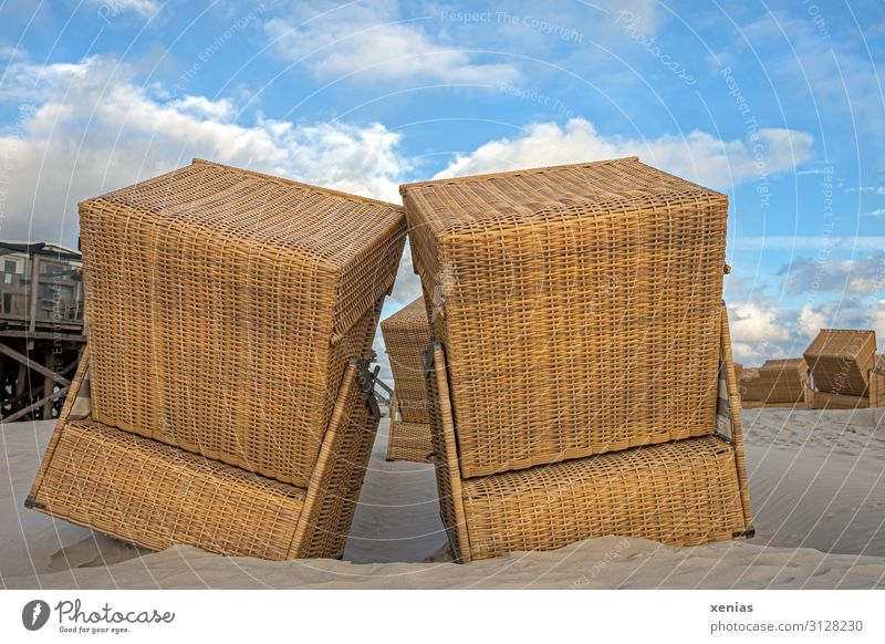 cuddling beach chairs on the beach in good weather Beach chair Vacation & Travel Tourism Summer Summer vacation Landscape Spring Beautiful weather Coast