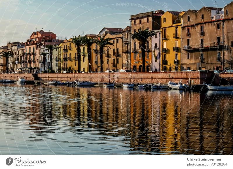 Evening in Bosa Vacation & Travel Tourism Trip Sightseeing City trip River bank Island Sardinia pink Italy Europe Fishing village Small Town Port City Downtown