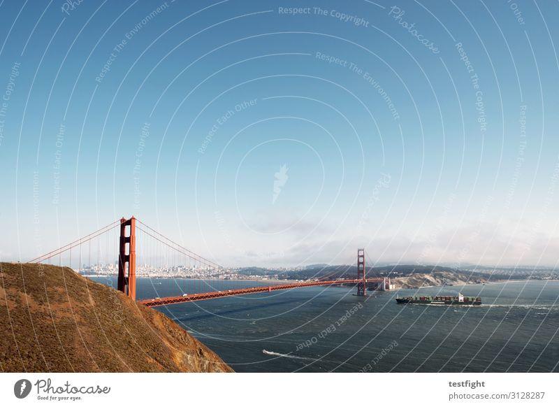 Golden Gate Bridge Environment Landscape Horizon Coast Ocean Port City Skyline High-rise Bank building Manmade structures Building Architecture