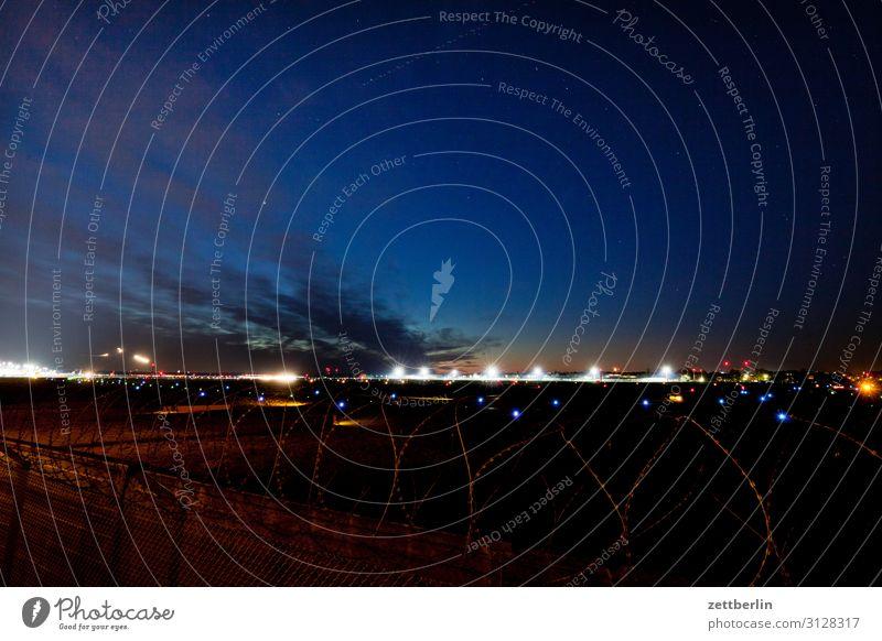 Tegel airfield Airplane Airplane takeoff Airport Airport Berlin-Tegel Evening Night Dark Night sky Sky Heaven Aviation Movement Multicoloured Dynamics Fantasy