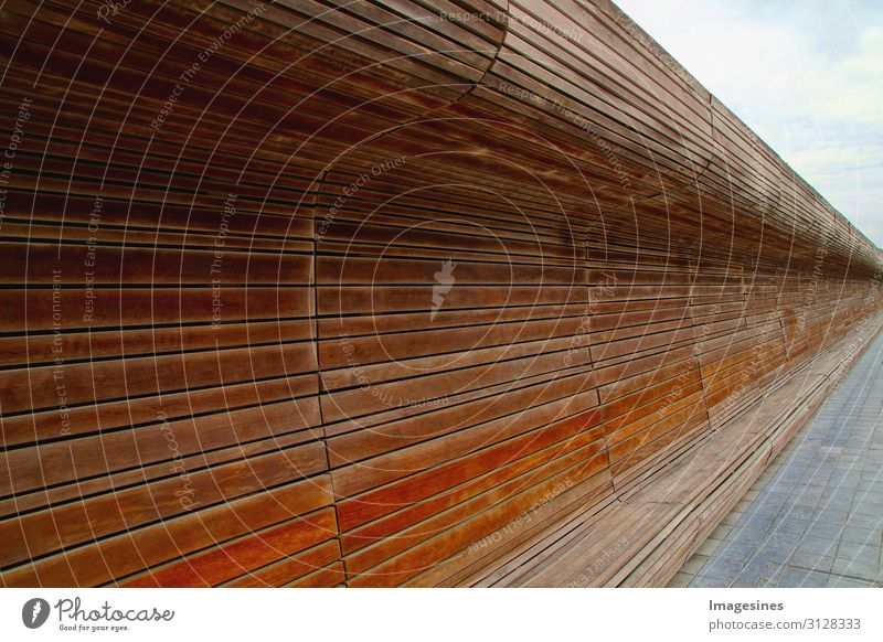 """wooden bench Places Architecture Bench Wood Stripe Modern Brown Design Calm """"long Curved Wooden bench continuous back flexed Dark brown"""