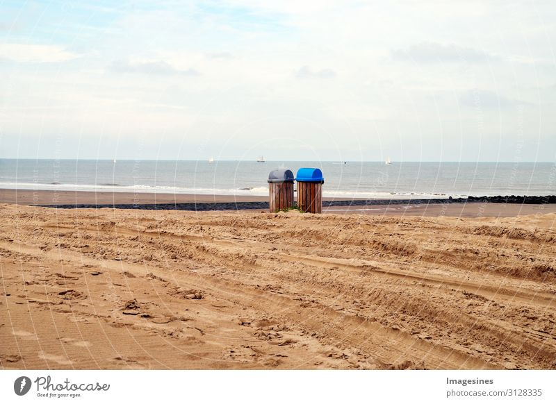 dustbins Tourism Beach Ocean Waves Environment Nature Landscape Sand Sky Clouds Horizon Autumn Coast Trash container Environmental pollution