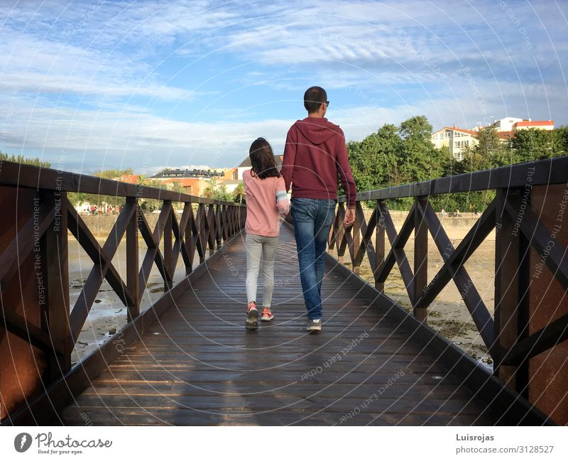 Father and daughter walking on a wooden bridge Lifestyle Vacation & Travel Tourism Hiking Human being Masculine Child Girl Young man Youth (Young adults) Adults