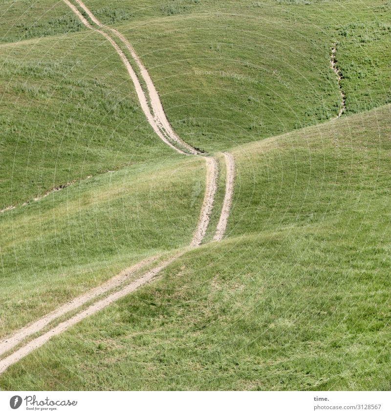 curve position Environment Nature Landscape Elements Sand Beautiful weather Meadow Field Hill Lanes & trails Curve Tilt Line Stripe Joie de vivre (Vitality)