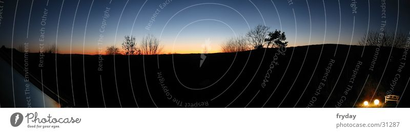 horizontal luminaires Wide angle Panorama (View) Night Sunset Tree Horizon Shadow Large Panorama (Format)