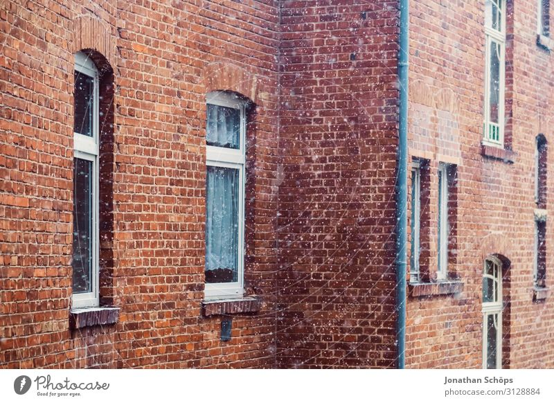 red brick facade with snowflakes in winter Erfurt Germany Winter Architecture Background picture Brick Building Christmas & Advent copy room Facade Flake