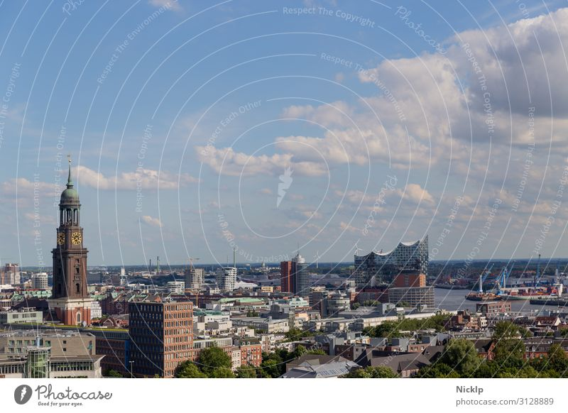 "City panorama of Hamburg, Germany with view of the Elbphilharmonie ""Elphi Water Sky Clouds Sunlight Summer Beautiful weather River Elbe Town Capital city"