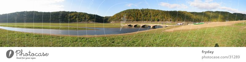 Lake Eder Wide angle Panorama (View) Meadow Water River Bridge Large Panorama (Format)