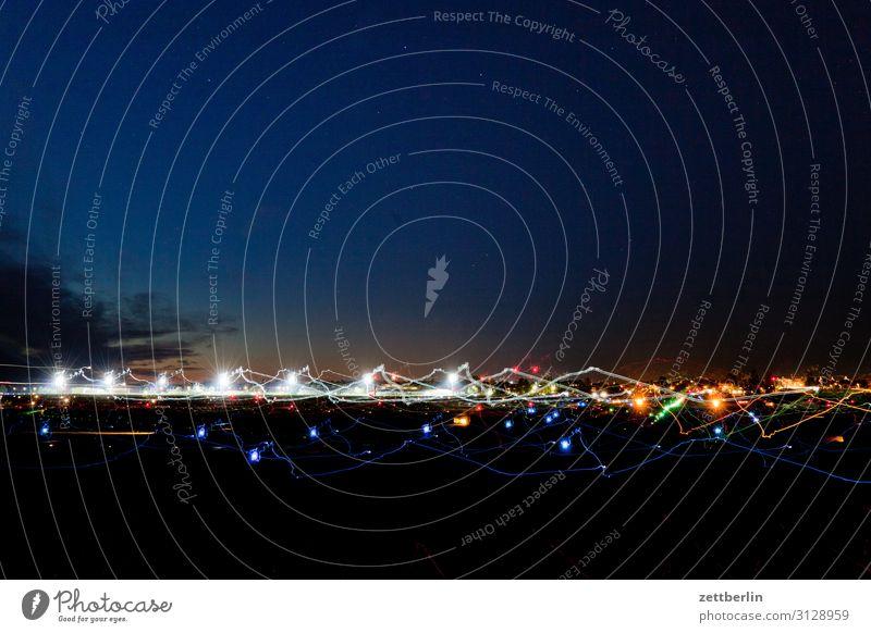 Airfield again Airplane Airplane takeoff Airport Airport Berlin-Tegel Evening Night Dark Night sky Sky Heaven Aviation Movement Multicoloured Dynamics Fantasy