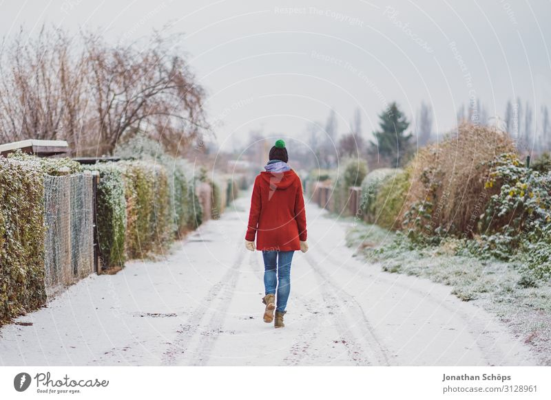 Woman Human being Young woman Red Loneliness Winter 18 - 30 years Street Cold Lanes & trails Snow Garden Freedom Snowfall Individual Footpath