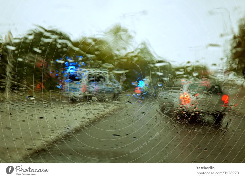 Accident in the rain Car Highway Carbon dioxide Threat Dangerous Risk Autumn Deserted Wet Drizzle Police Officer Police Force Rain Drops of water