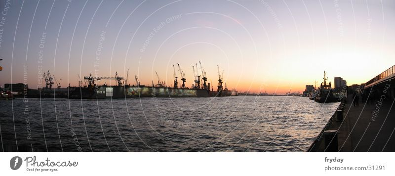 Water Large Hamburg Europe River Harbour Crane Panorama (Format)
