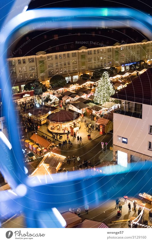 Christmas & Advent Blue Town Black Building Germany Brown Europe Places Tall Capital city Old town Downtown Christmas tree Markets Marketplace