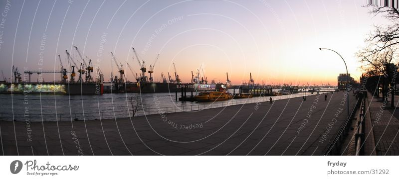 Port of Hamburg I Water River Germany Europe Harbour Watercraft Large Sunset Panorama (Format) Colour photo Exterior shot Deserted Panorama (View) Wide angle