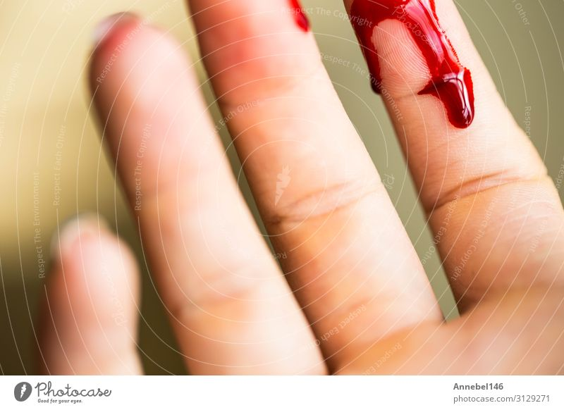 Finger cut, bleeding injured with knife Body Skin Health care Medication Hospital Human being Woman Adults Hand Fingers Drop Red White Pain Horror Cut Blood