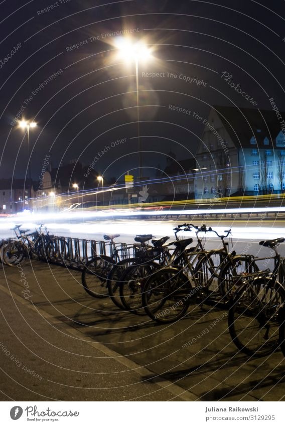 Blue Town Dark Street Movement Germany City life Car Transport Illuminate Bicycle Bridge Speed Capital city Driving Downtown