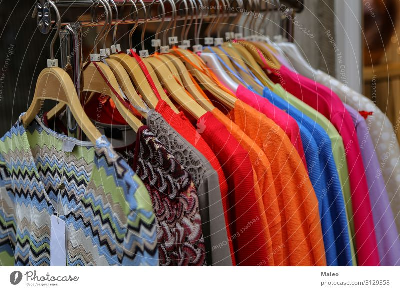Clothes for sale in a shop. Clothing Store premises Trade Boutique Fashion Hanger Retail sector Dress Sell Style Design Woman Closet Selection Shopping malls