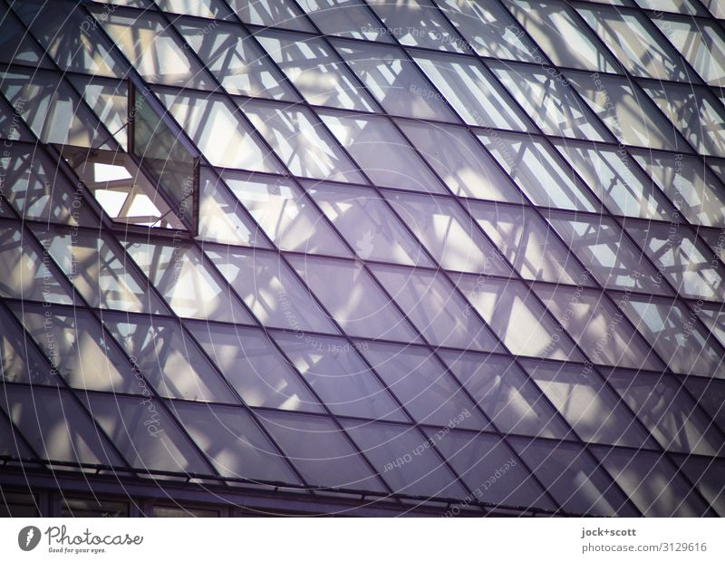 vitreus Beautiful weather Franconia Hospital Glass roof Hatch Atrium Line Network Triangle Surface Sharp-edged Modern Above Many Moody Protection Secrecy