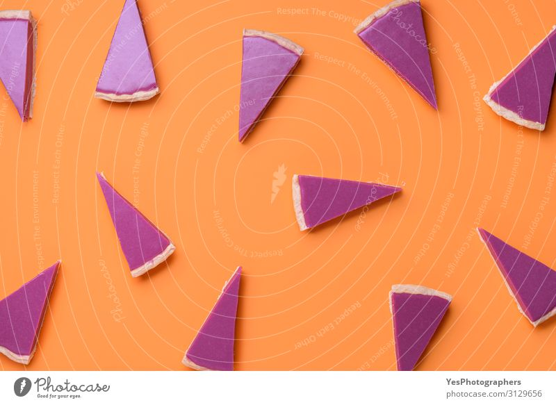 Pink pie slices pattern on orange background. Christmas dessert Christmas & Advent Winter Feasts & Celebrations Baked goods Candy Cake Tradition Dessert