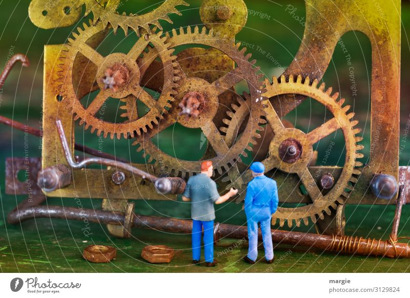 Human being Blue Yellow Time Work and employment Clock Masculine Gold Technology Future Broken Construction site Profession Services Figure Craft (trade)