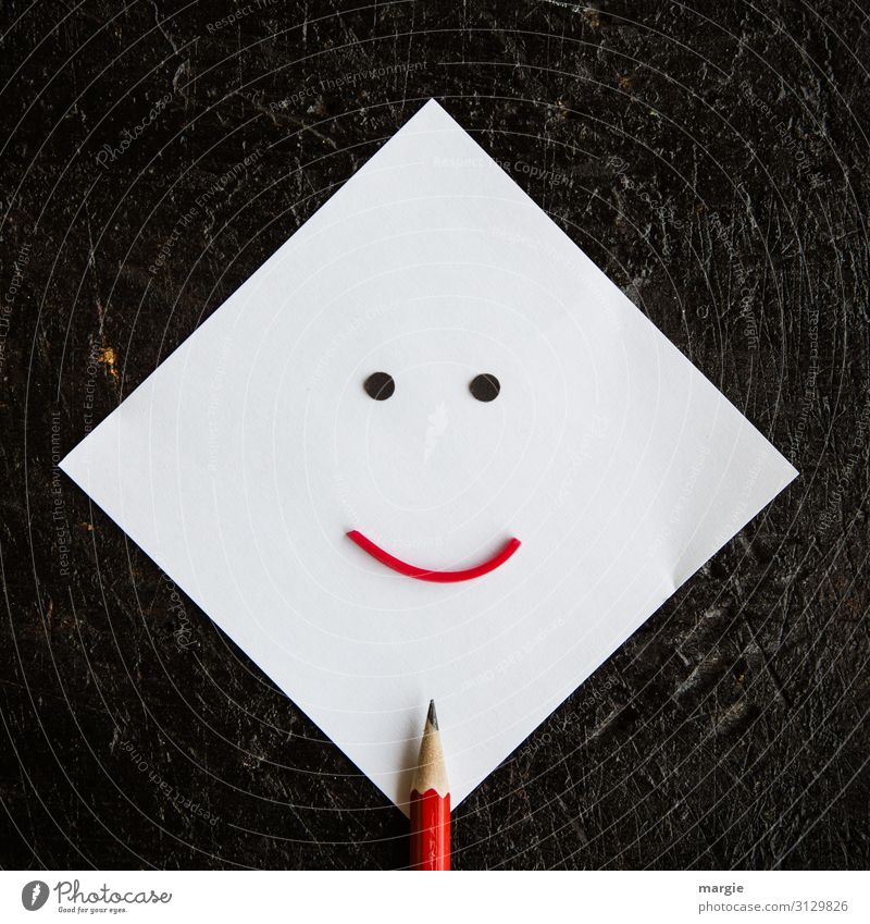 memos Work and employment Office work Workplace Write Red Pencil Piece of paper Paper Writer White Black Smiley Facial expression Collage Stationery