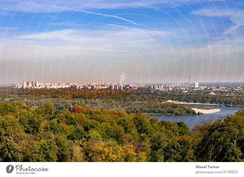 View of the Kiev's left bank from the National Botanic Garden Vacation & Travel Factory Industry Financial institution Landscape Sky Clouds Horizon Tree Park