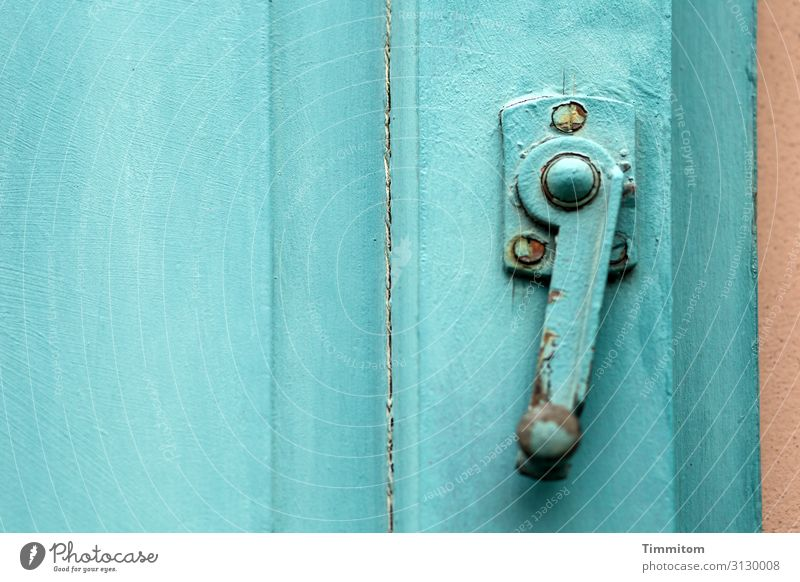 Old House (Residential Structure) Window Wood Brown Metal Door Esthetic Old town Turquoise Abrasion Collateralization Locking bar Bamberg Metal fitting