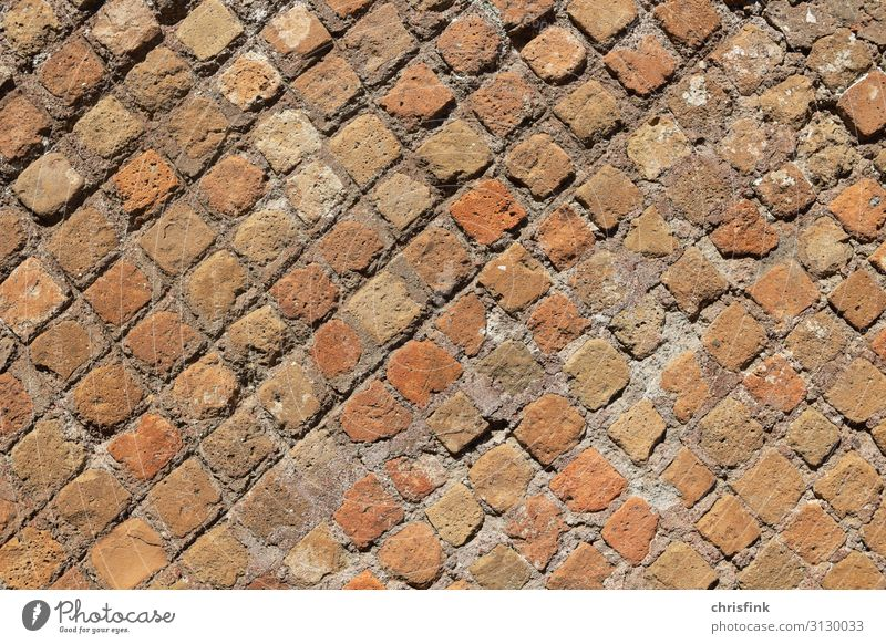 ancient roman wall in Ostia Stone Sand Brick Firm Red Rome Wall (barrier) ostia Ancient Old Colour photo Multicoloured Exterior shot Close-up Detail Day