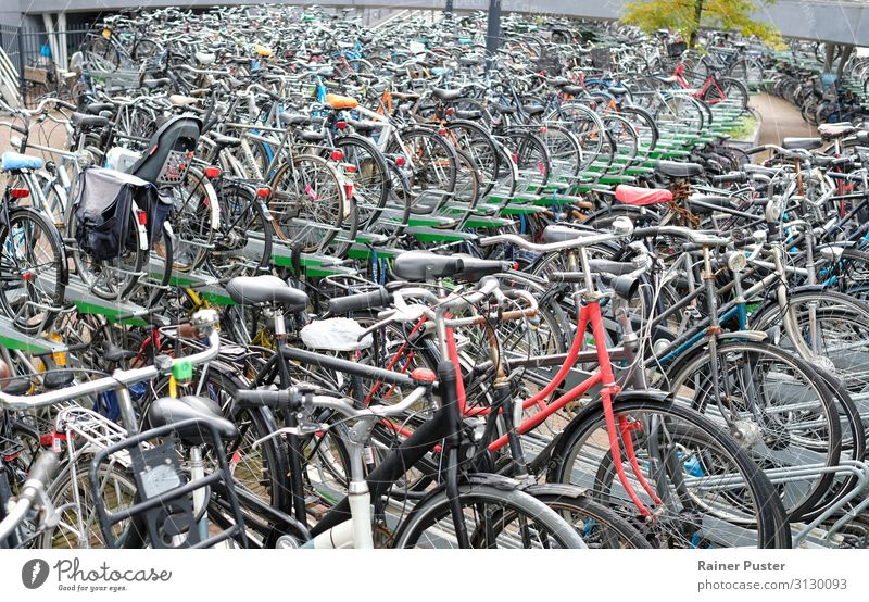 Bicycle parking in Rotterdam Netherlands Parking garage Parking lot Cycling Street Metal Steel Driving Gray Black Colour photo Exterior shot Copy Space top