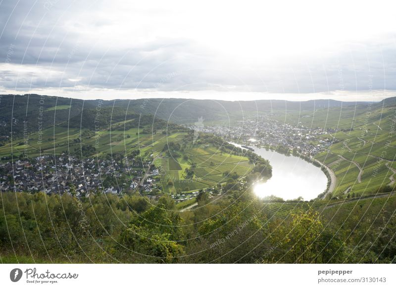 Moselle Vacation & Travel Tourism Vineyard Nature Landscape Plant Sky Clouds Horizon Beautiful weather Tree Hill Mountain Kroev Small Town