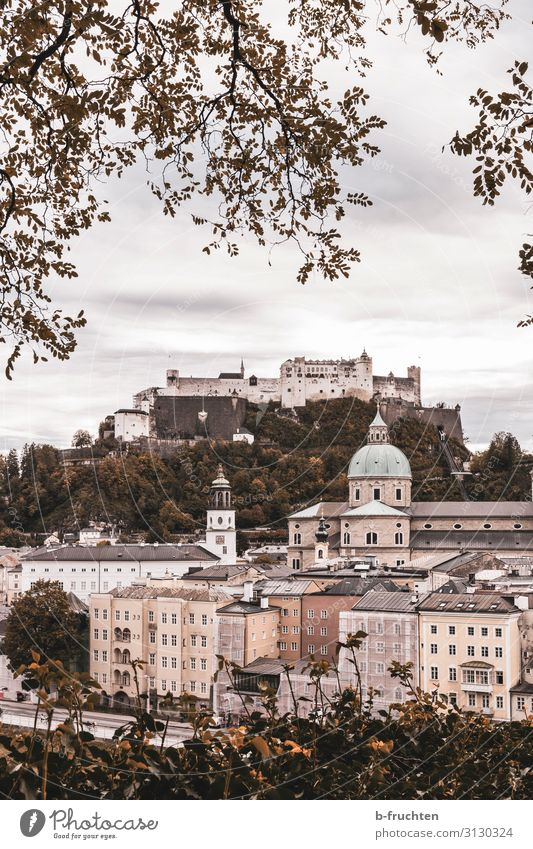 Salzburg in autumn Landscape Clouds Autumn Bad weather Town Downtown Old town Church Dome Castle Tourist Attraction Landmark Idyll Tourism Austria hohensalzburg