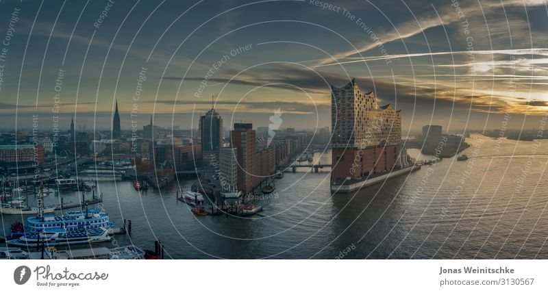 The Elbphilharmonie at sunrise Architecture Music Concert Opera Opera house Hamburg Capital city Port City Downtown Populated Manmade structures
