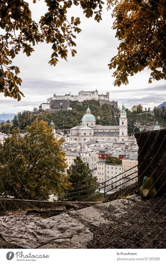 Salzburg city view autumn Landscape Clouds Autumn Plant Bushes Town Old town Skyline Church Dome Castle Manmade structures Wall (barrier) Wall (building)
