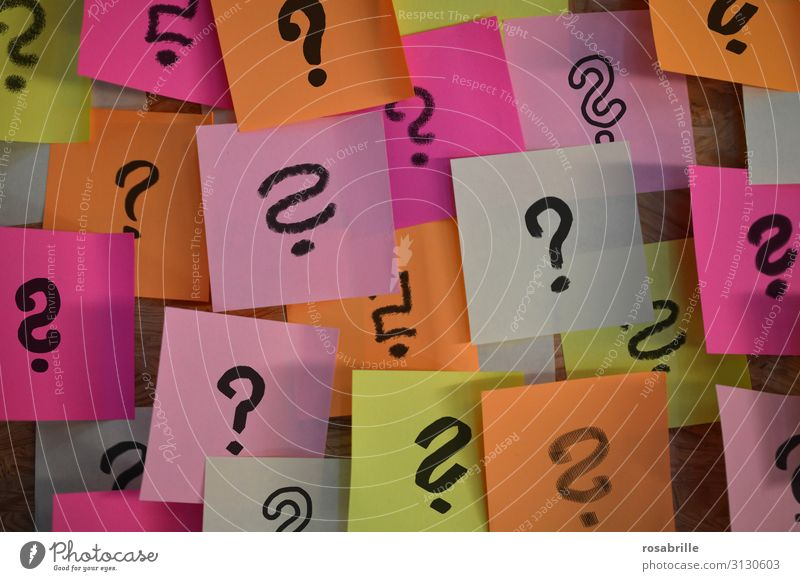 Notepad with question mark | Firlefanz Study Workplace Office Piece of paper Sign Curiosity Concern Stupid Chaos Mysterious Inspiration Complex Puzzle Planning