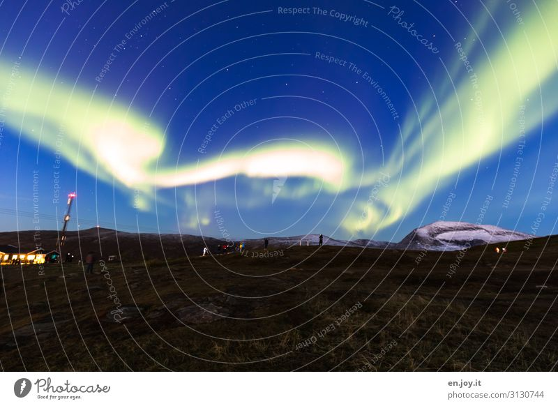 Human being Vacation & Travel Nature Landscape Environment Meadow Tourism Trip Energy Climate Surrealism Scandinavia Norway Bizarre Night sky Aurora Borealis