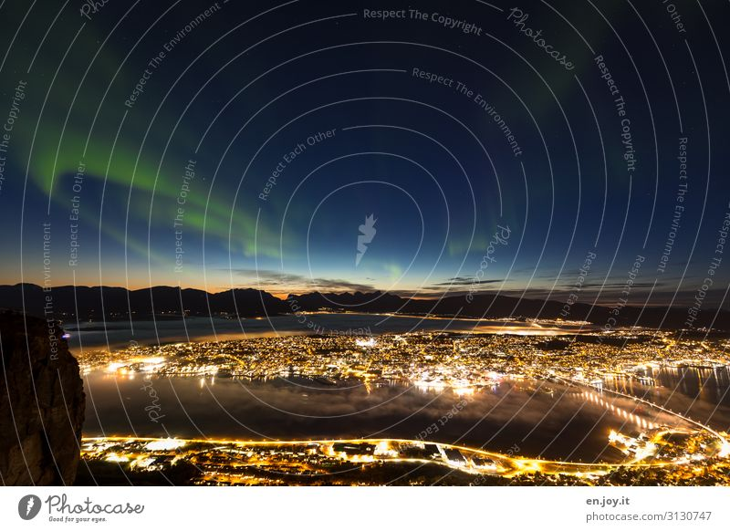 dream view Vacation & Travel Tourism Trip Far-off places Sightseeing City trip Island Night sky Bay Fjord Tromsø Norway Scandinavia Small Town Port City